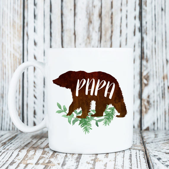 Papa Bear Mug Daddy Bear Dad Coffee Mug  Watercolor Floral Design 11oz or 15 oz Coffee Mug  New Dad Baby Shower Gift  Preggers