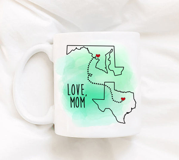 Custom Family Distance Mug Long Distance Relationship Mug All States Available Gift for friend Best Friend friend Gifts Map USA LDR Mug