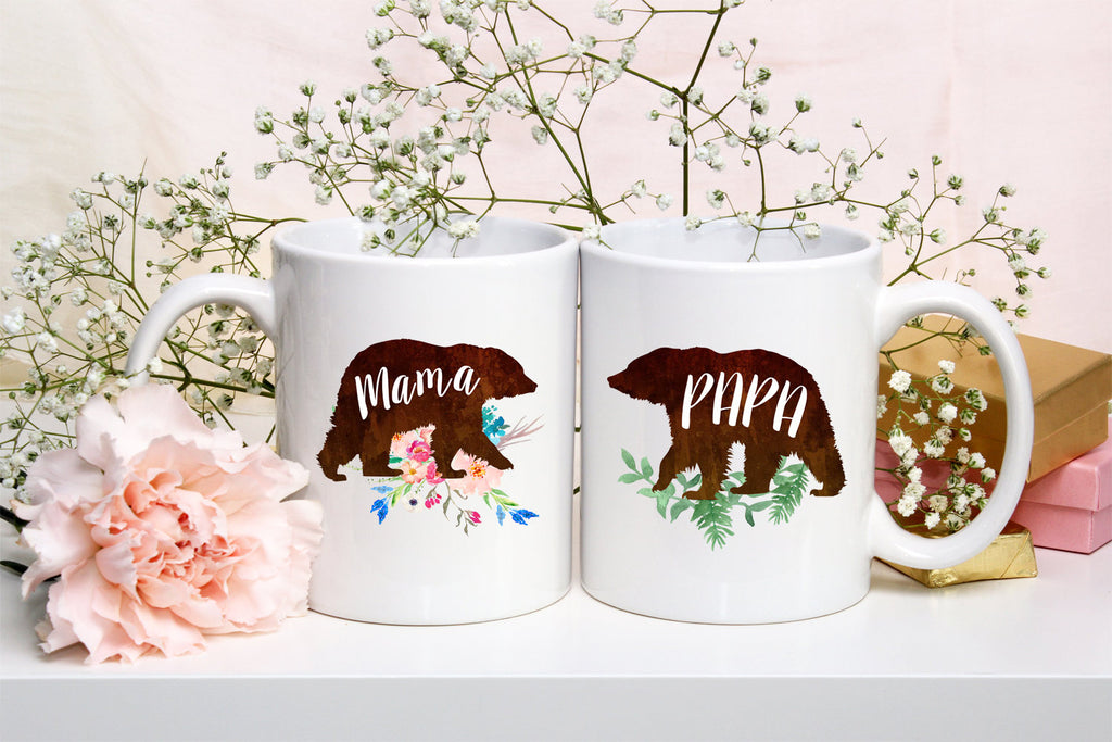 Mama Bear Papa Bear Mug Daddy Bear Dad Coffee Mug New Parents Mug Baby Mug Gift Announcement For New Mom and Dad