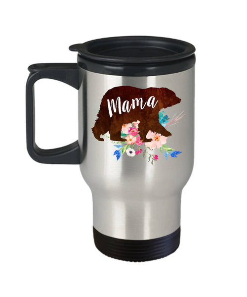 Mom Travel Mug - Stainless Steel Travel Mug - Coffee Travel Mug - Womens Travel Mug - Airplane Travel Mug - Mama Bear Travel Mug