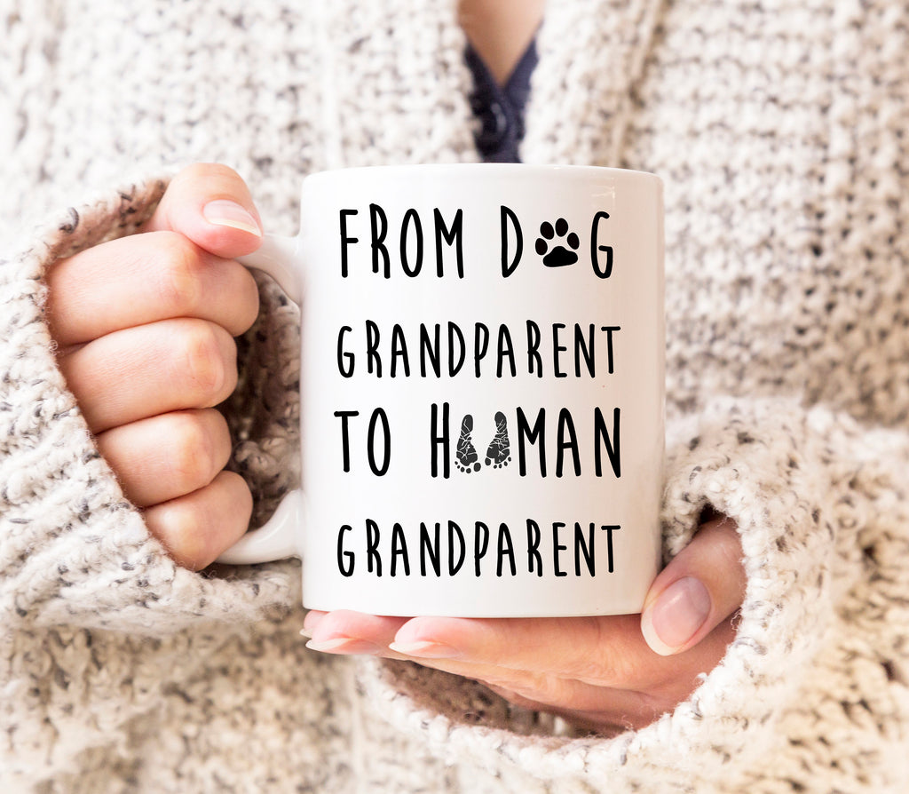 Pregnancy Reveal Dog Grandparent To Human Grandparent Mug Pregnancy Reveal Grandparents Promoted to Grandparent Mug Baby New Parents