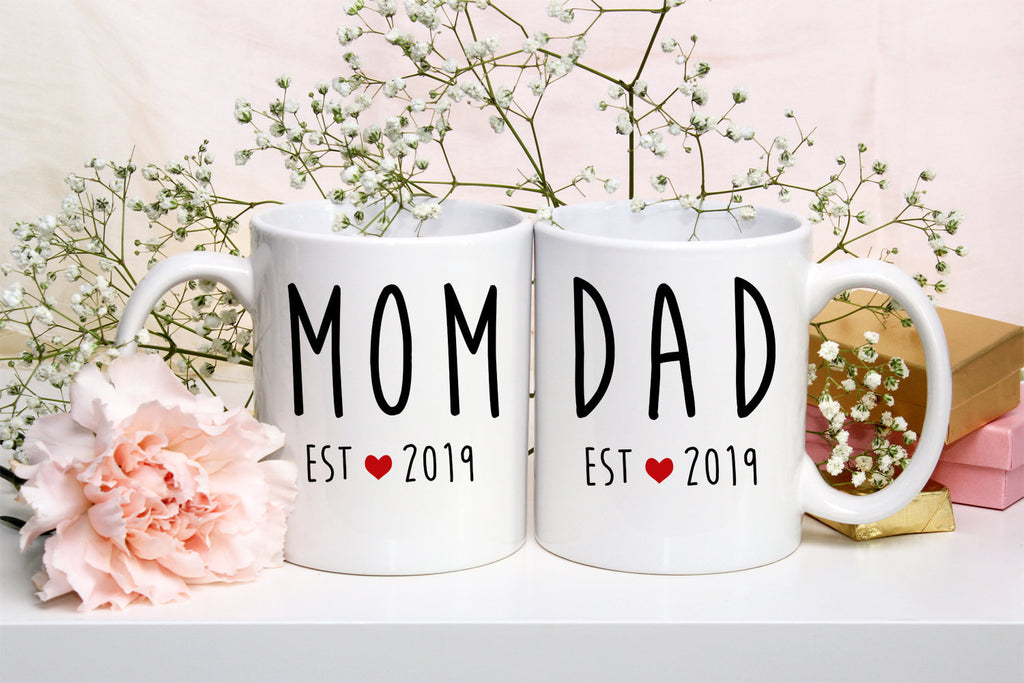 New Mom and New Dad Mug Set Gifts for New Parents Est. 2019 New Dad Mug New Mom Mug Couples Mugs Expectant Parents Mom and Dad Mugs