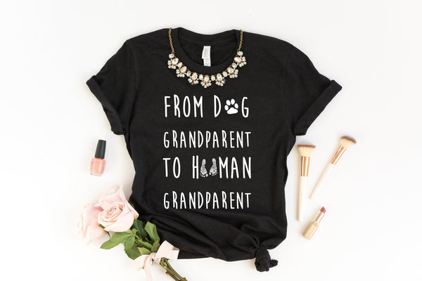 Promoted From Dog Grandparent To Human Grandparent - Shirt For New Grandparents - New Parents Shirt - Dog Grandparent To Human Grandparent
