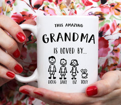 Personalized Grandma Mug, This Grandma Belongs To, Stick Figure Family, Funny Mom Gifts, Funny Grandma Coffee Mug, Custom Names