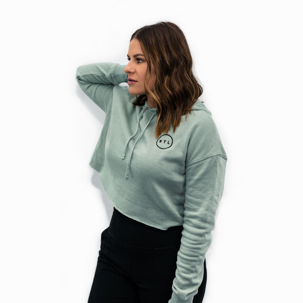 Embroidered City Circle Crop Hoodie