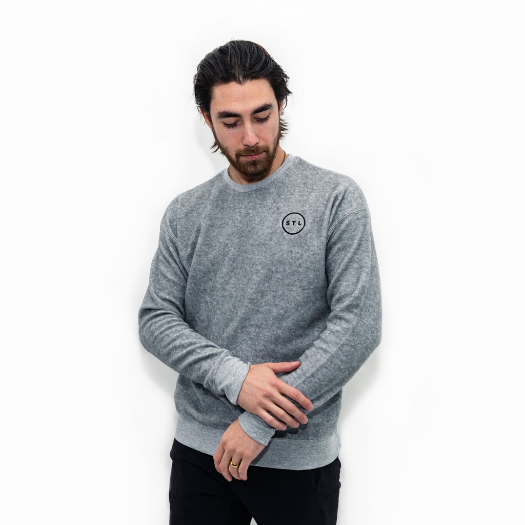 Embroidered City Circle Sueded Crewneck