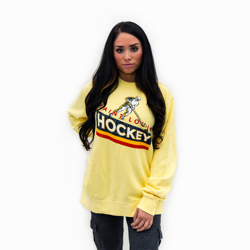 Retro Stripe Hockey Crewneck