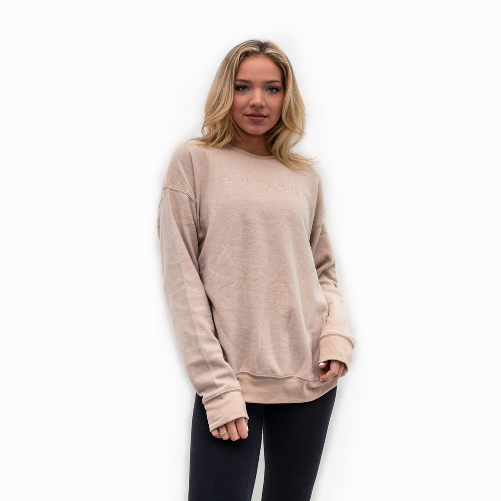 Tonal Sueded Drop Shoulder Crewneck