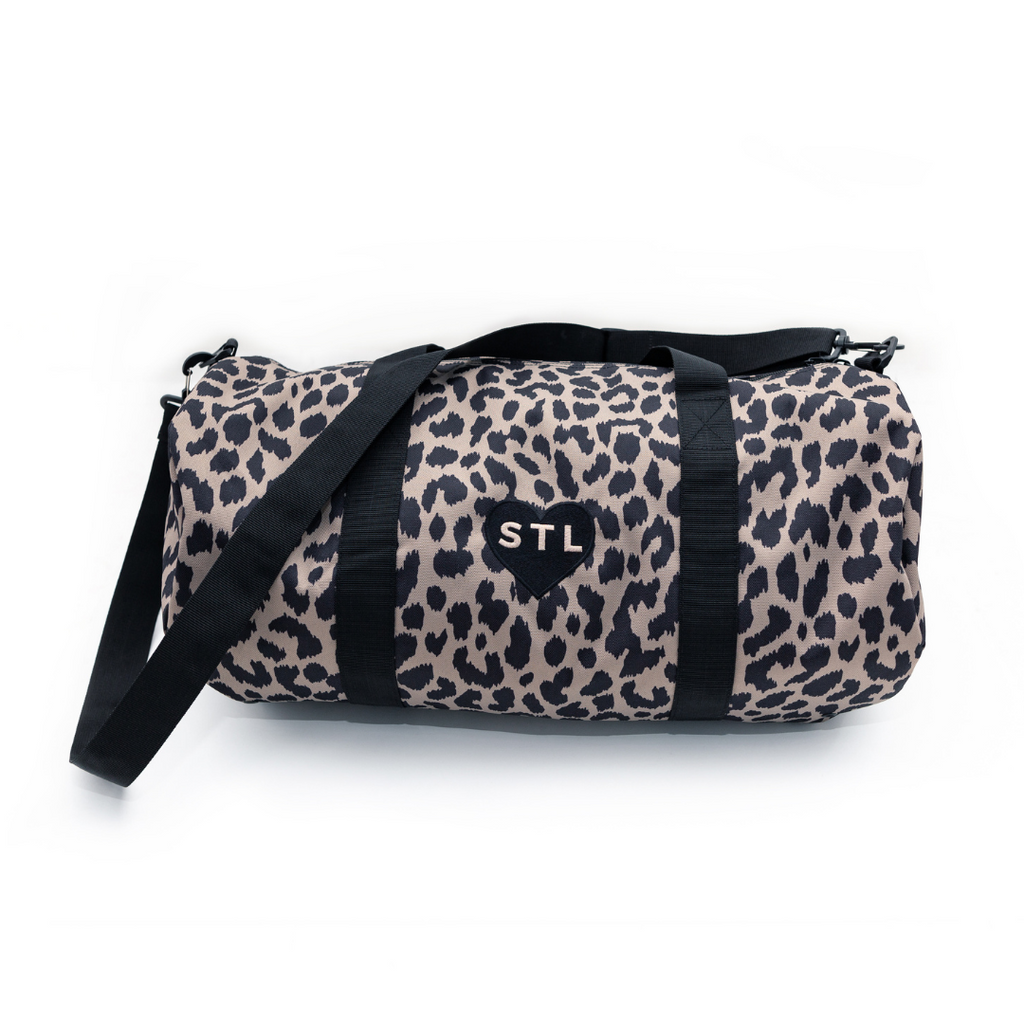 Heart STL Cheetah Print Duffel Bag