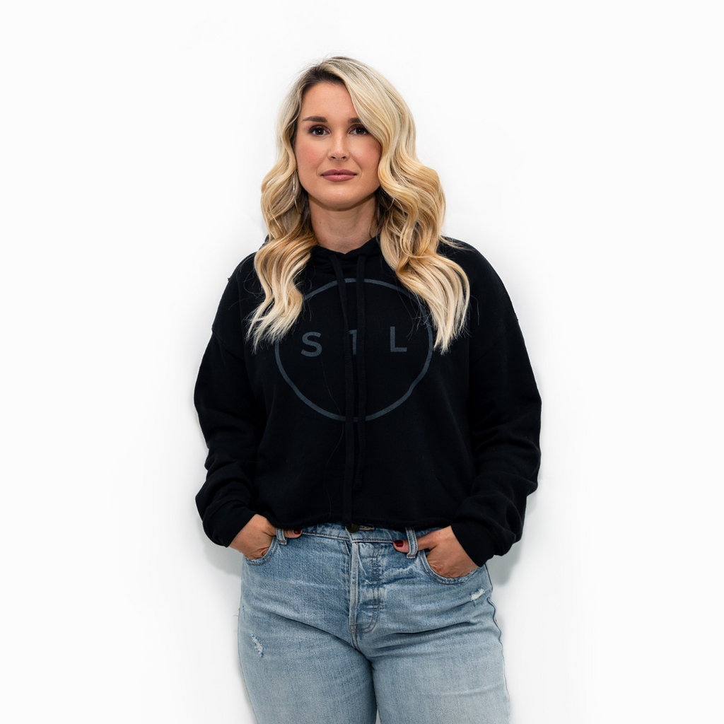 Blackout City Circle Cropped Hoodie