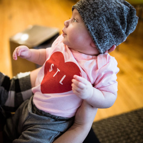Triblend Peach Heart STL Toddler Tee