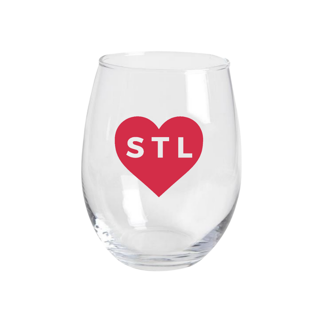 Heart STL Stemless Wine Glass
