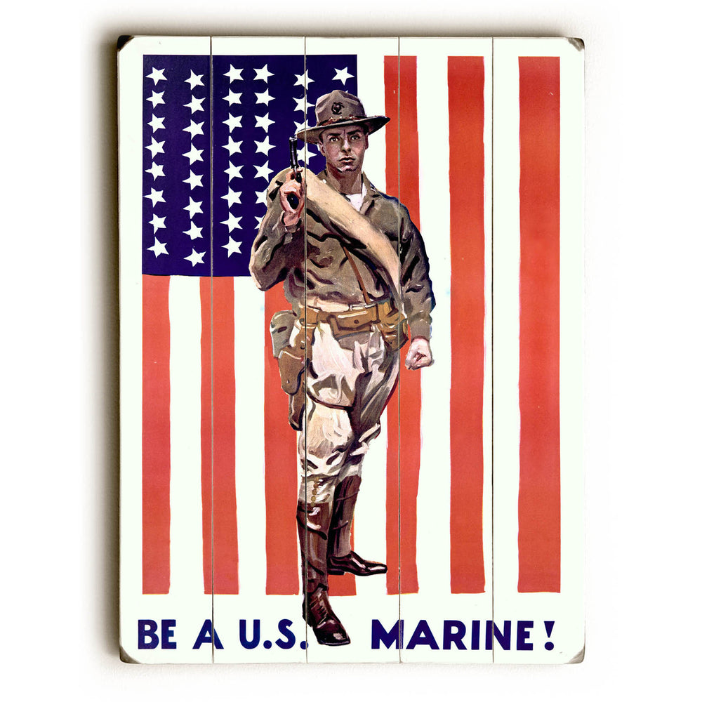 Be A U.S. Marine Wood Wall Decor by Posters Please