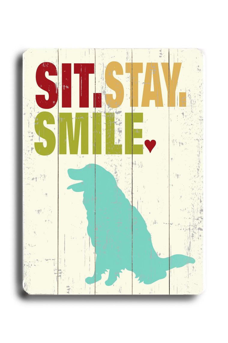 Ginger Oliphant Sit.stay.smile Wood Wall Decor