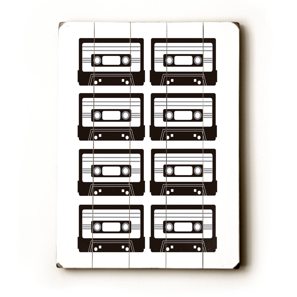 B/W Tapes Wood Wall Decor by Amanda Catherine