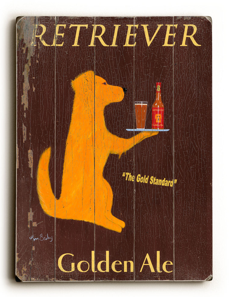 Ken Bailey Retriever Golden Ale Wood Wall Decor