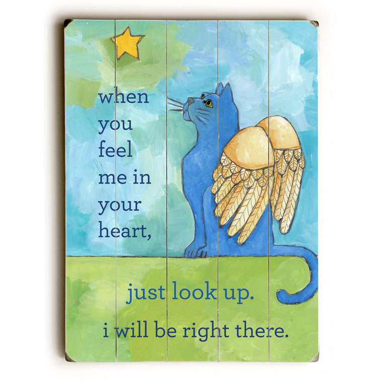 Blue Cat Angel Wood Wall Decor by Ursula Dodge