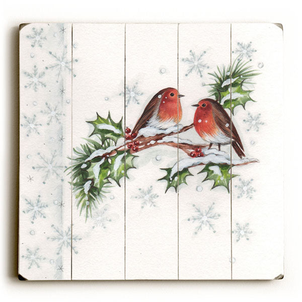 Christmas Birds -  Planked Wood Wall Decor by ArtLicensing