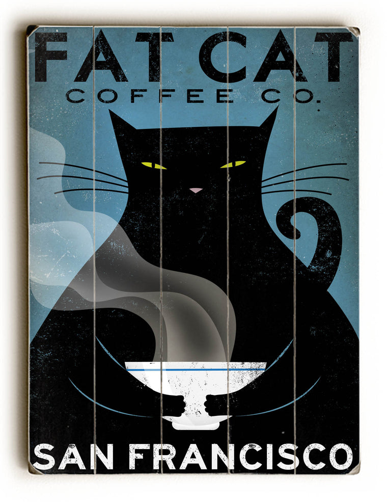 Ryan Fowler Cat Coffee Wood Wall Decor