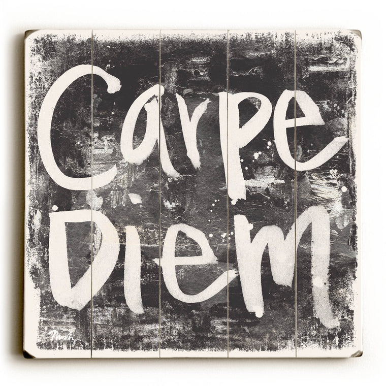 Carpe Diem - Black Wood Wall Decor by Misty Diller