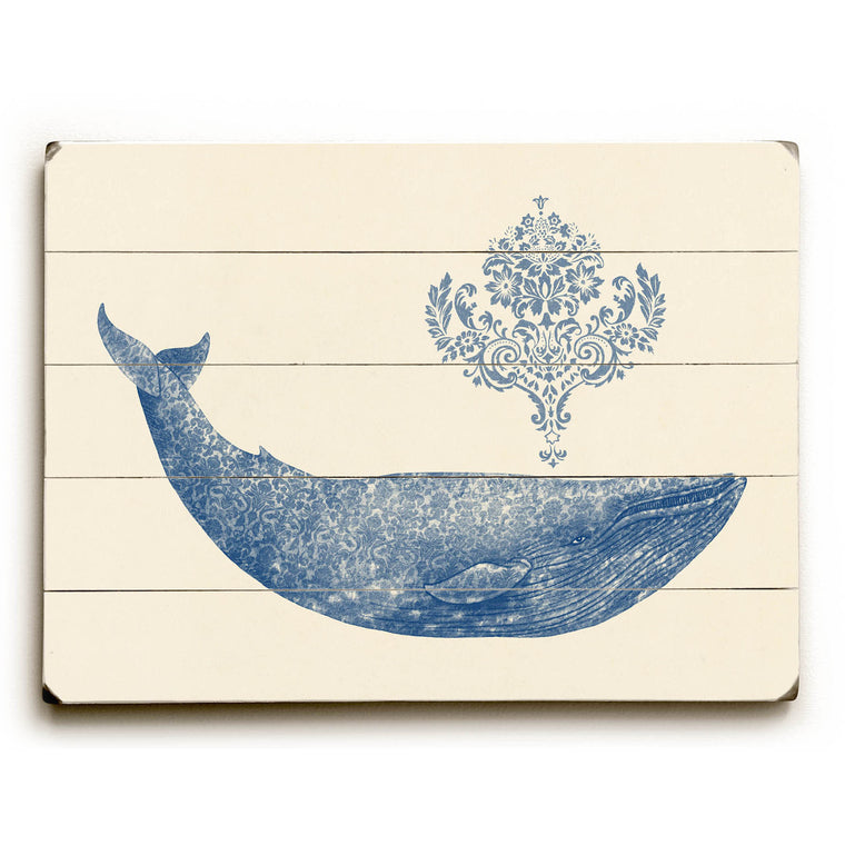 Damask Whale Wood Wall Decor by Terry Fan