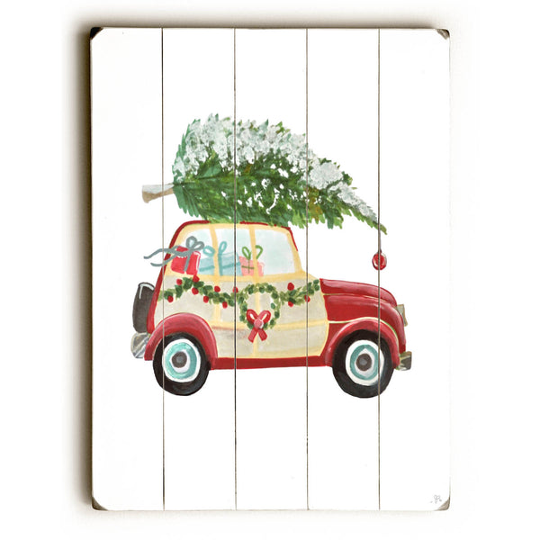 Christmas tree on car Wood Wall Decor by Jennifer Rizzo Design