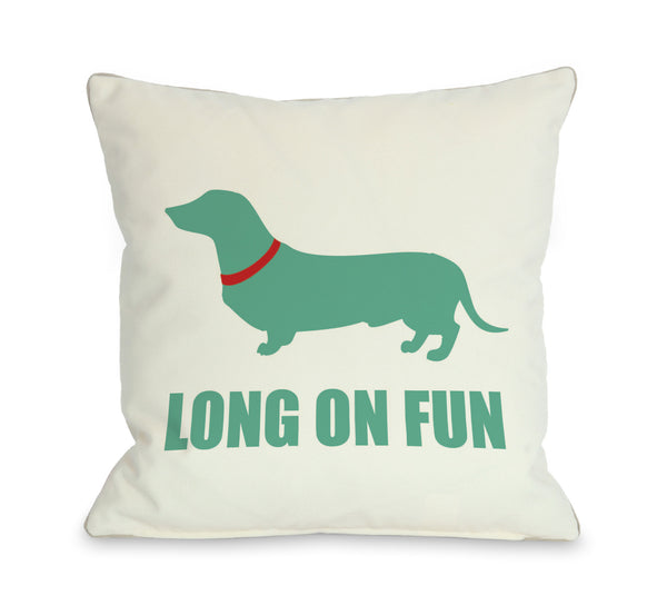 Long On Fun Throw Pillow by OneBellaCasa.com