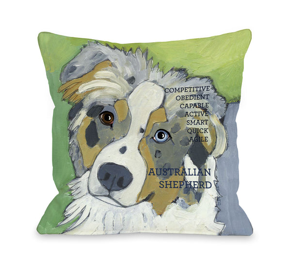 Australian Sheep Dog 1 Throw Pillow by Ursula Dodge