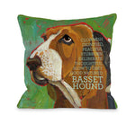 Bassett Hound 2  18x18 Pillow by Ursula Dodge