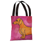 Dachshund - Pink Tote Bag by Ursula Dodge