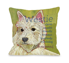 Westie 1 Throw Pillow by Ursula Dodge