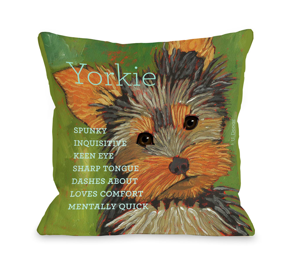 Yorkshire Terrier 1  18x18 Pillow by Ursula Dodge