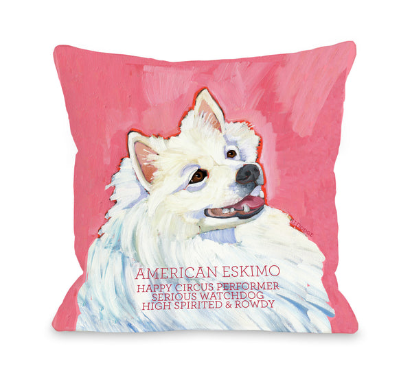 American Eskimo 1 Throw Pillow by Ursula Dodge