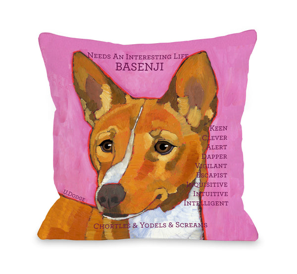 Basenji 1 Throw Pillow by Ursula Dodge