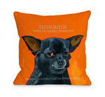Chihuahua 3 Orange Throw Pillow by Ursula Dodge