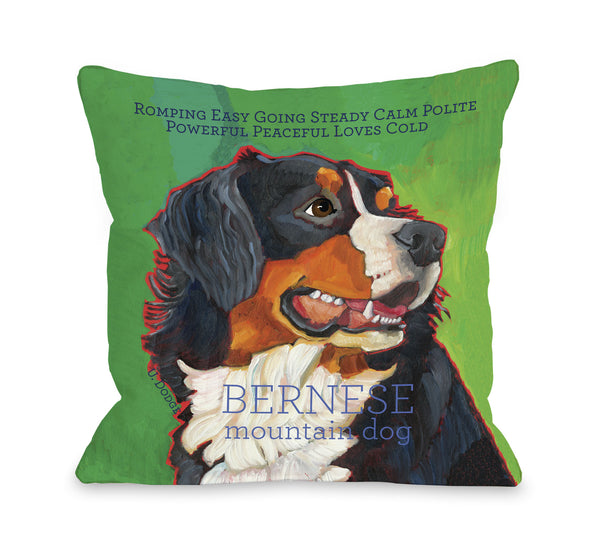 Bernese Mountain Dog 1 Throw Pillow by Ursula Dodge