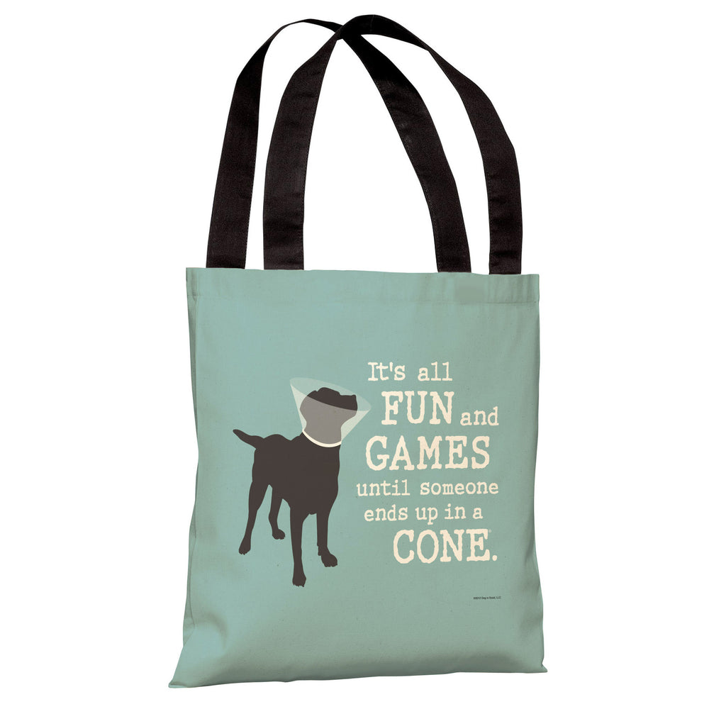 Its All Fun and Games - Blue Gray Tote Bag by Dog is Good