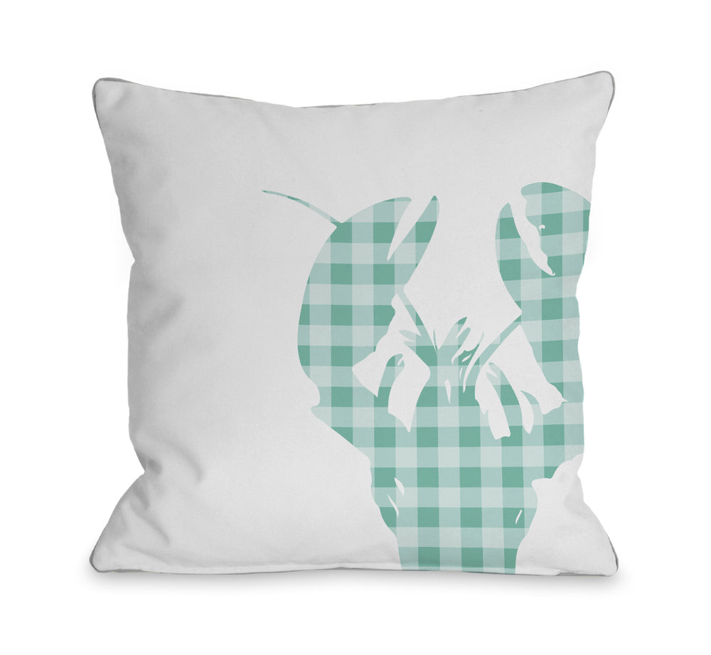 Plaid Lobster - Aqua Throw Pillow by OBC