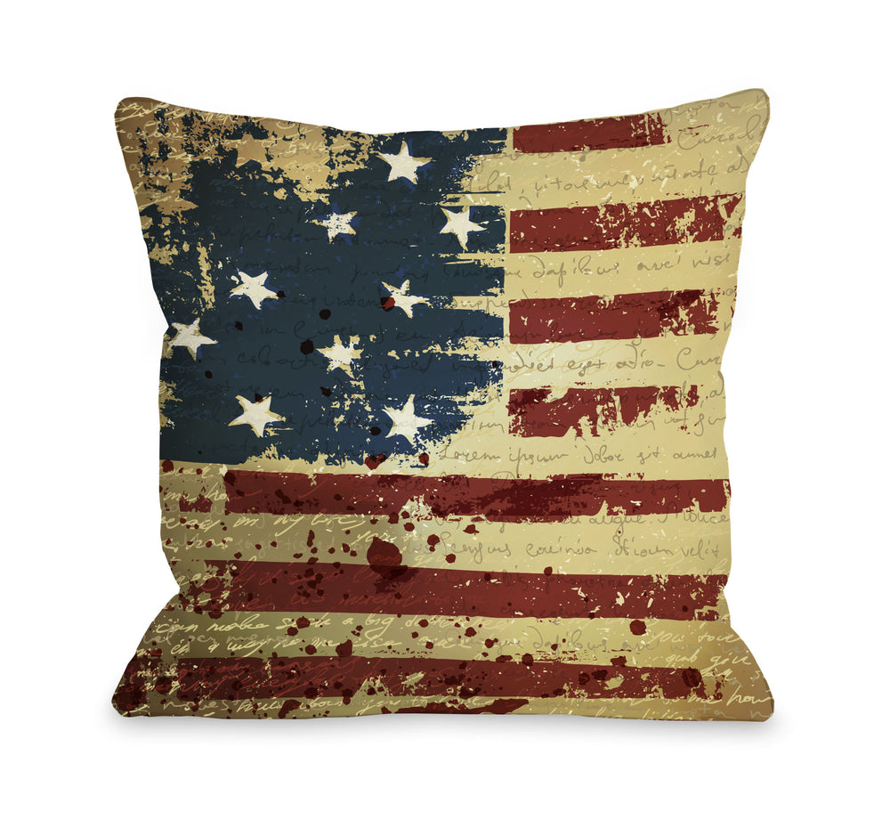 Vintage American Flag Throw Pillow by OBC