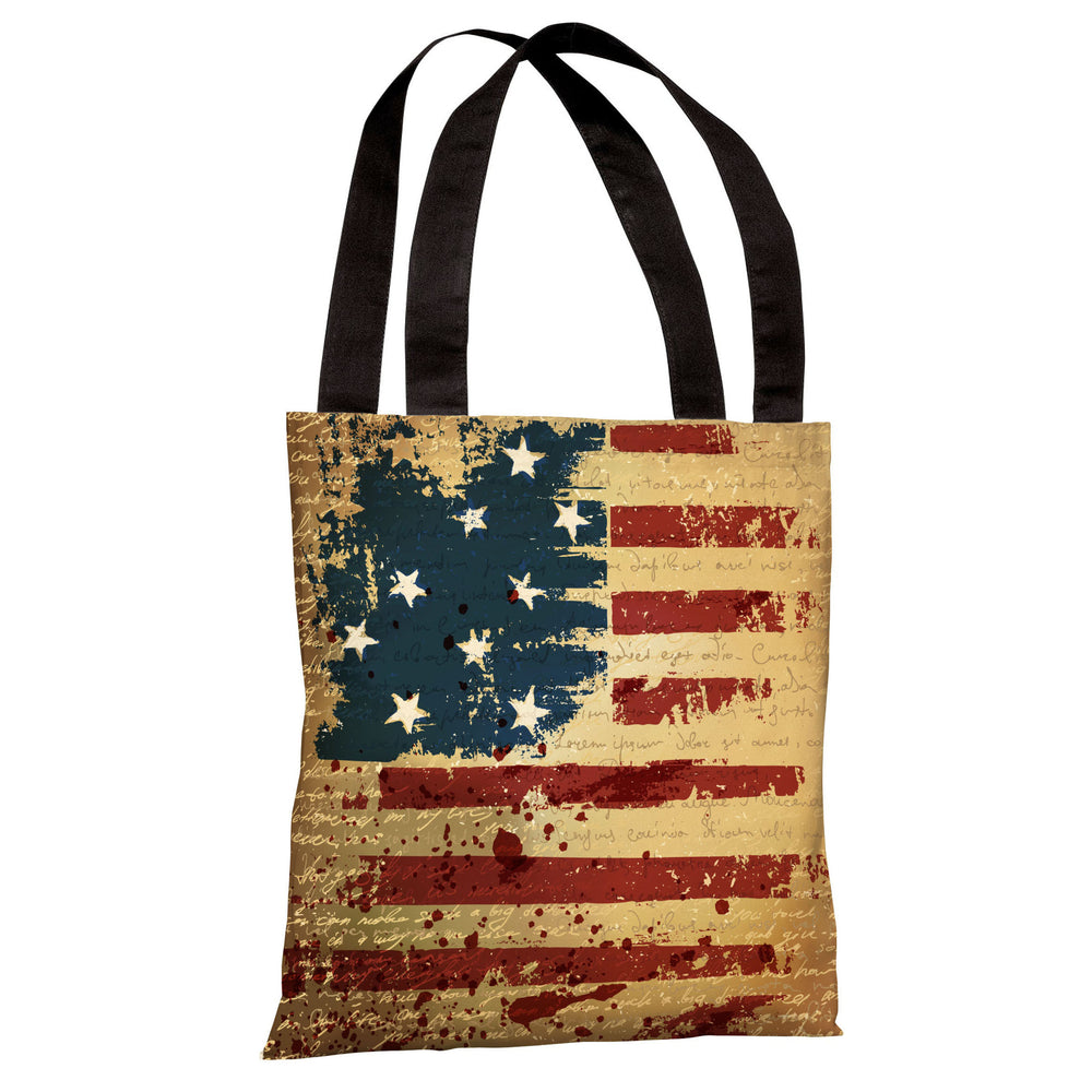 Vintage American Flag Tote Bag by OBC