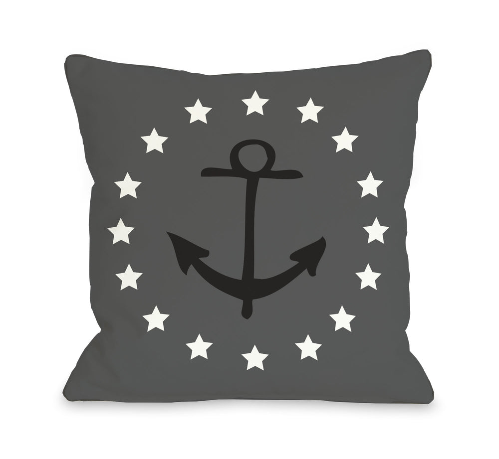 Anchor Circle Stars - Gray Black Throw Pillow by OBC