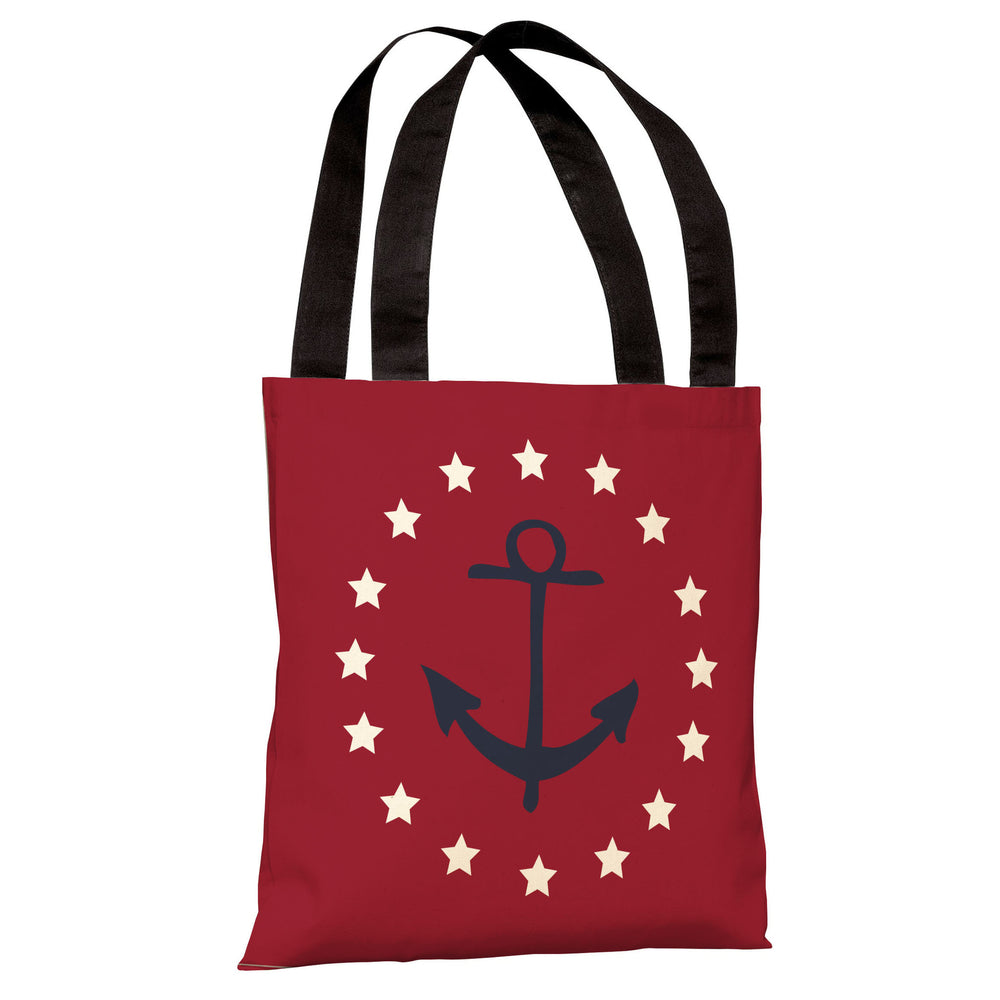 Anchor Circle Stars - Red Blue Tote Bag by OBC