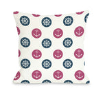Anchor Wheel Polka Dot - Blue Throw Pillow by OBC