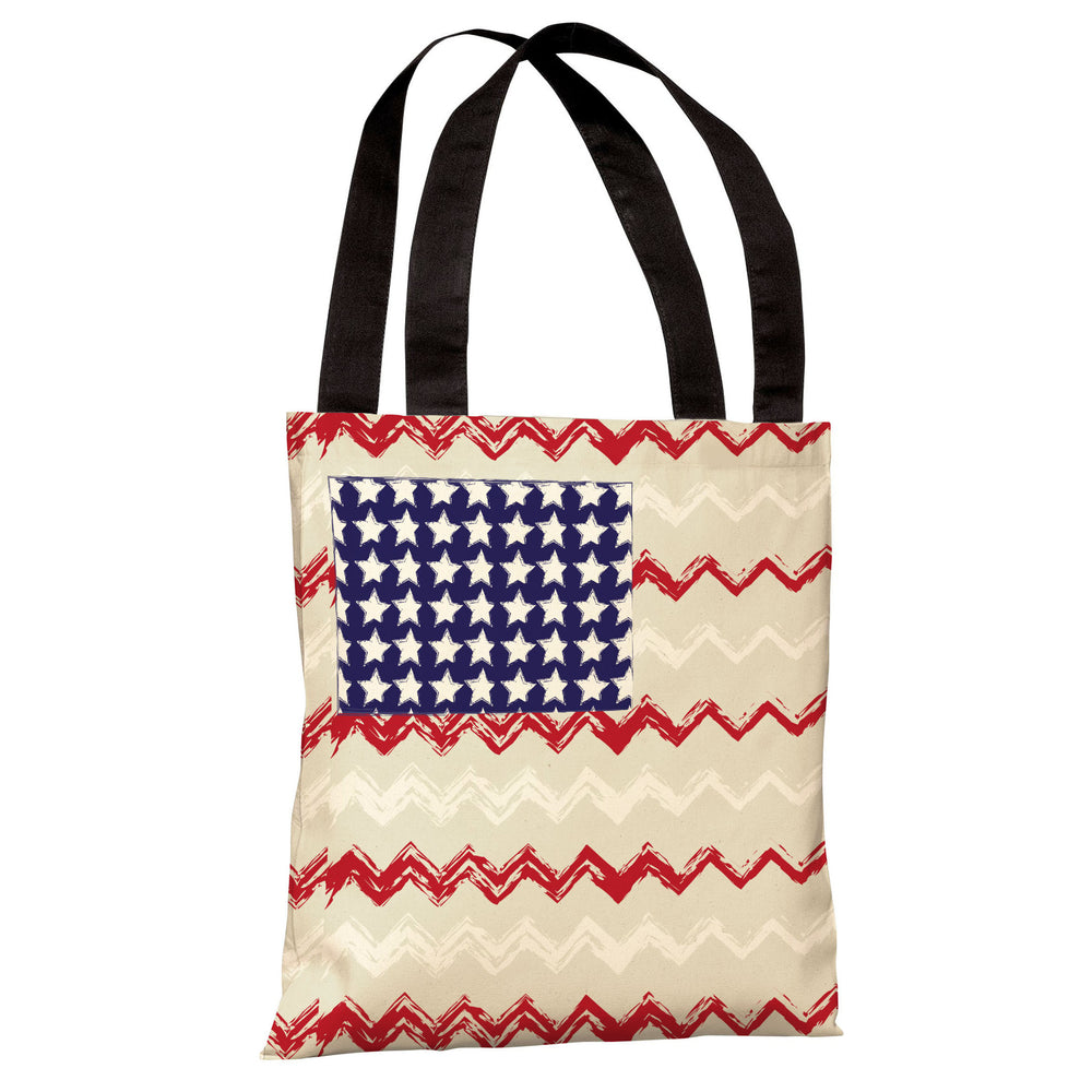 Chevron American Flag Tote Bag by OBC
