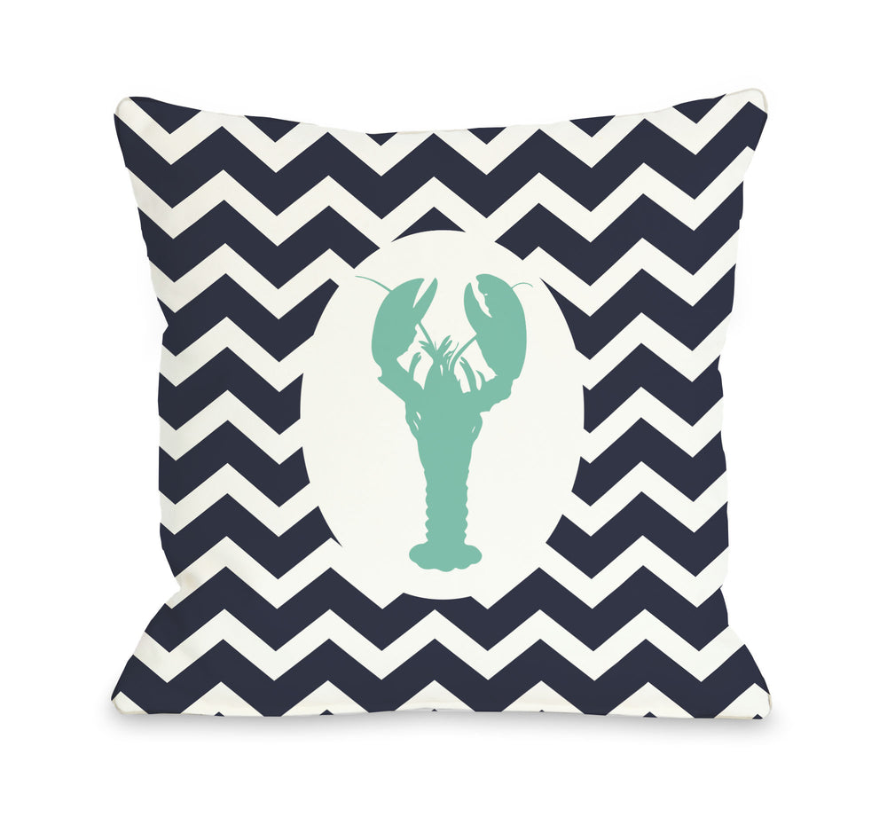 Chevron Lobster - Navy Aqua Throw Pillow by OBC