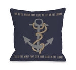 Anchor Feet on Ground Heart in Clouds Outdoor Throw Pillow by OBC