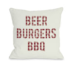 Beer Burgers BBQ Outdoor Throw Pillow by OBC