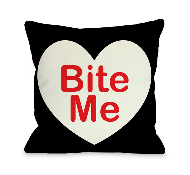 Bite Me 18x18 Pillow by OBC
