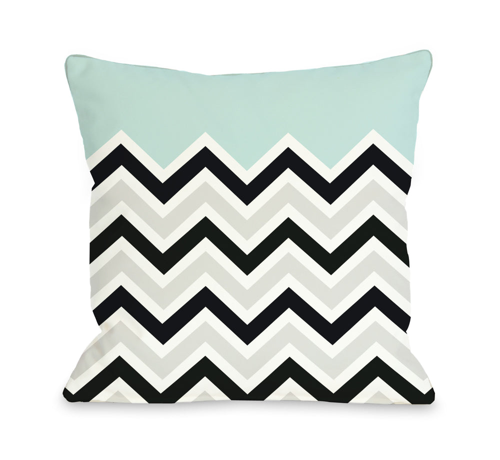 Chevron Solid Light Blue Outdoor Throw Pillow By Obc