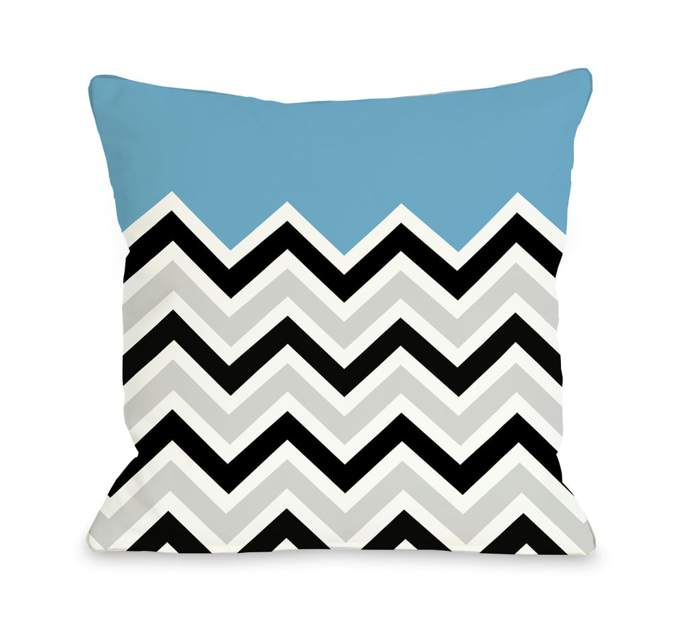 Chevron Solid - Aqua Outdoor Throw Pillow by OBC